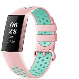 Pink green Fitbit compatible sports band